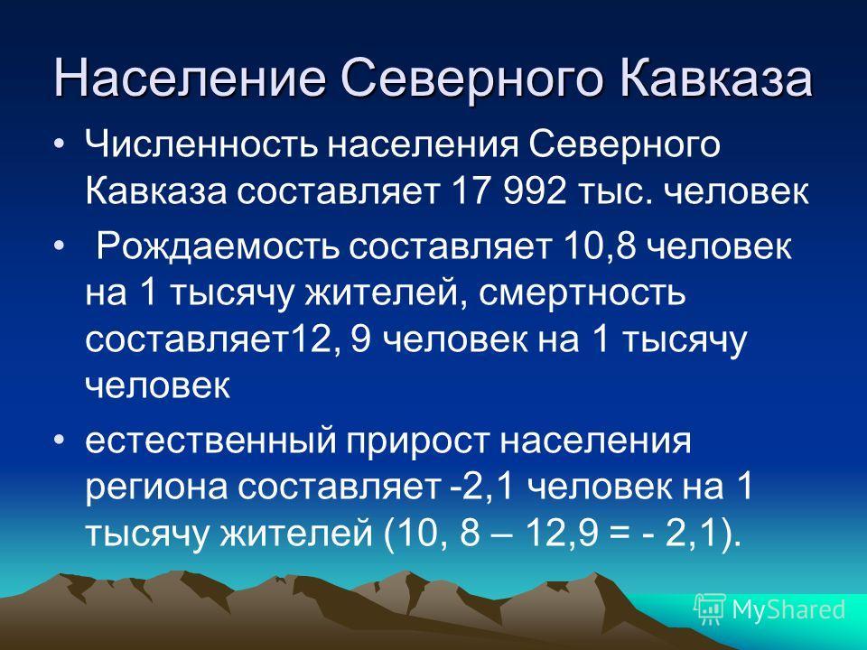 Численность населения Северного Кавказа составляет 17 992 тыс. человек Рождаемость составляет 10,8 человек на 1 тысячу жителей, смертность составляет12, 9 человек на 1 тысячу человек естественный прирост населения региона составляет -2,1 человек на 1