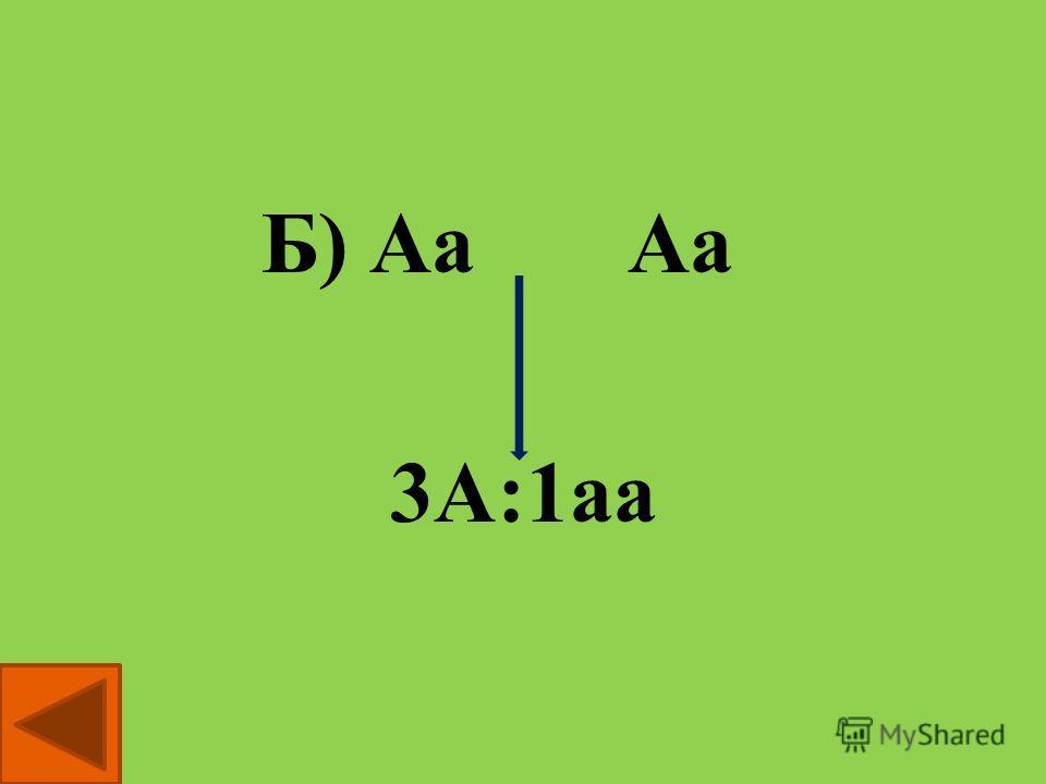 вопрос 1 Выберите из приведенных ниже схем ту, которая выражает смысл второго закона Менделя А) АА ааБ) Аа Аа В) Аа аа Аа 3А:1аа 1 / 2 Аа: 1 / 2 аа