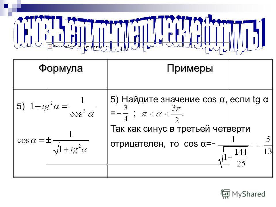 ФормулаПримеры 5) 5) Найдите значение cos α, если tg α = ;. Так как синус в третьей четверти отрицателен, то cos α= -