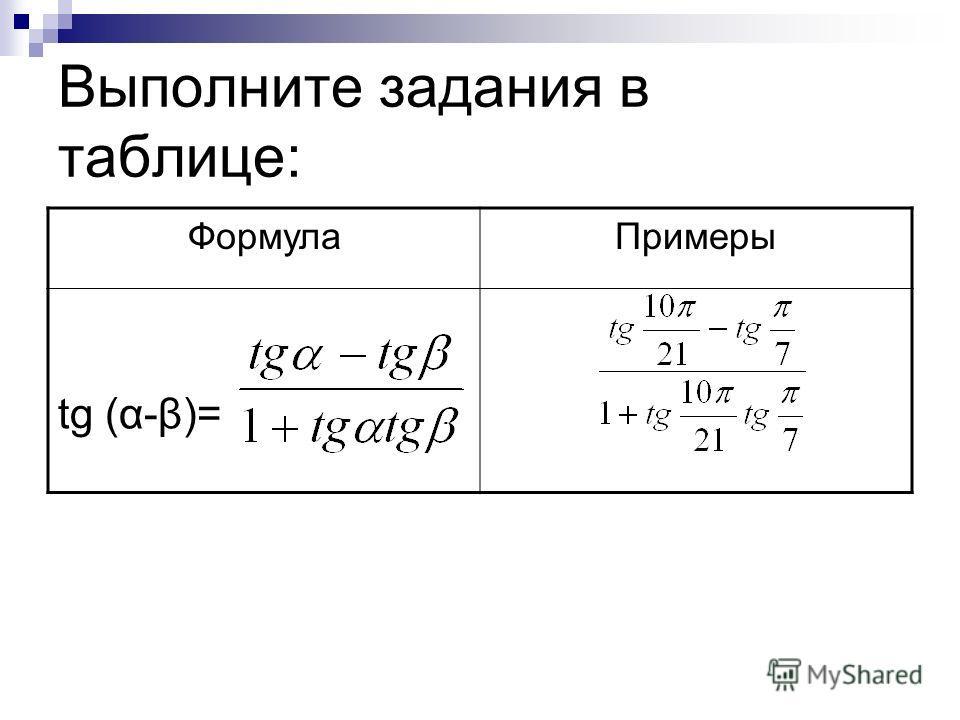 Выполните задания в таблице: ФормулаПримеры tg (α-β)=