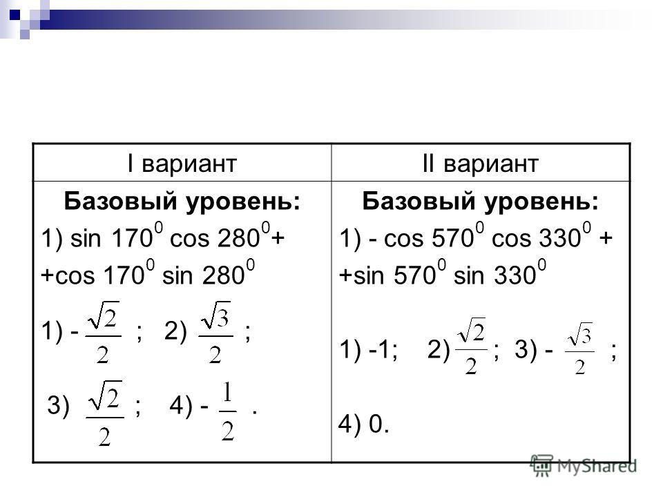 I вариантII вариант Базовый уровень: 1) sin 170 0 cos 280 0 + +cos 170 0 sin 280 0 1) - ; 2) ; 3) ; 4) -. Базовый уровень: 1) - cos 570 0 cos 330 0 + +sin 570 0 sin 330 0 1) -1; 2) ; 3) - ; 4) 0.