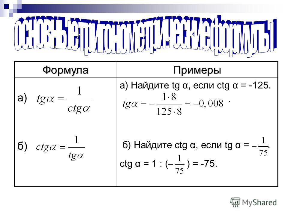 ФормулаПримеры а) б) а) Найдите tg α, если ctg α = -125.. б) Найдите ctg α, если tg α =. ctg α = 1 : ( ) = -75.