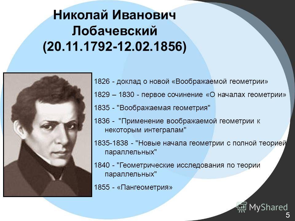 1826 - доклад о новой «Воображаемой геометрии» 1829 – 1830 - первое сочинение «О началах геометрии» 1835 -