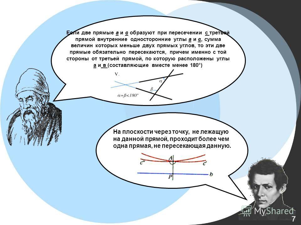 Если две прямые а и в образуют при пересечении с третьей прямой внутренние односторонние углы a и в, сумма величин которых меньше двух прямых углов, то эти две прямые обязательно пересекаются, причем именно с той стороны от третьей прямой, по которую