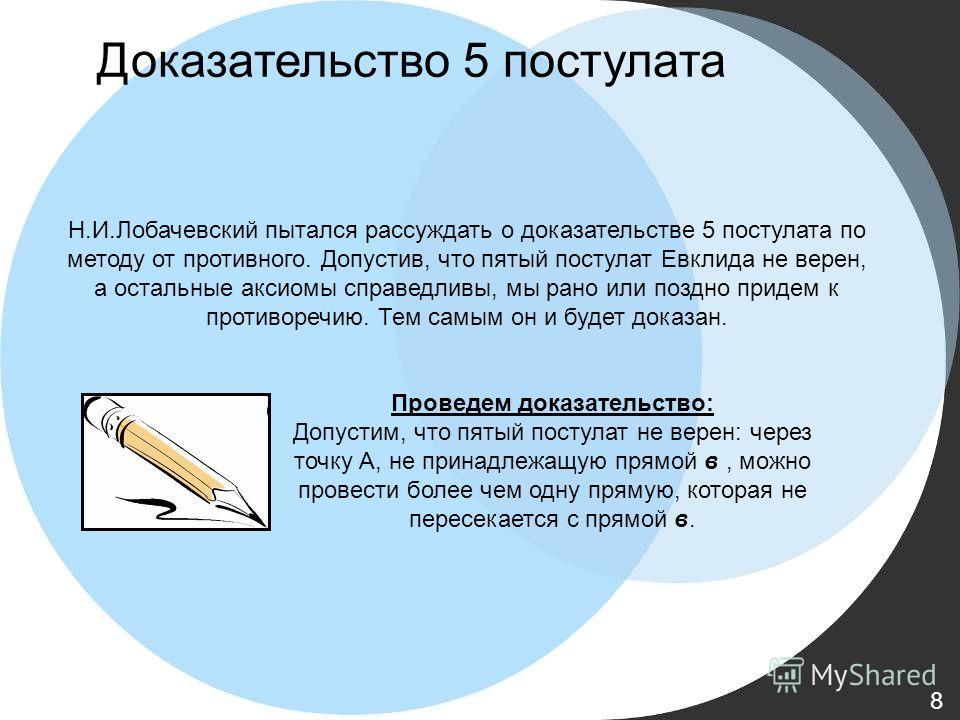 Н.И.Лобачевский пытался рассуждать о доказательстве 5 постулата по методу от противного. Допустив, что пятый постулат Евклида не верен, а остальные аксиомы справедливы, мы рано или поздно придем к противоречию. Тем самым он и будет доказан. Проведем
