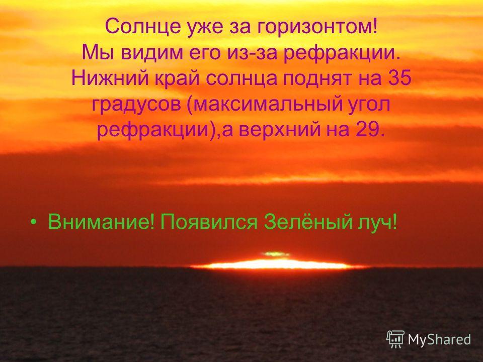 Солнце уже за горизонтом! Мы видим его из-за рефракции. Нижний край солнца поднят на 35 градусов (максимальный угол рефракции),а верхний на 29. Внимание! Появился Зелёный луч!