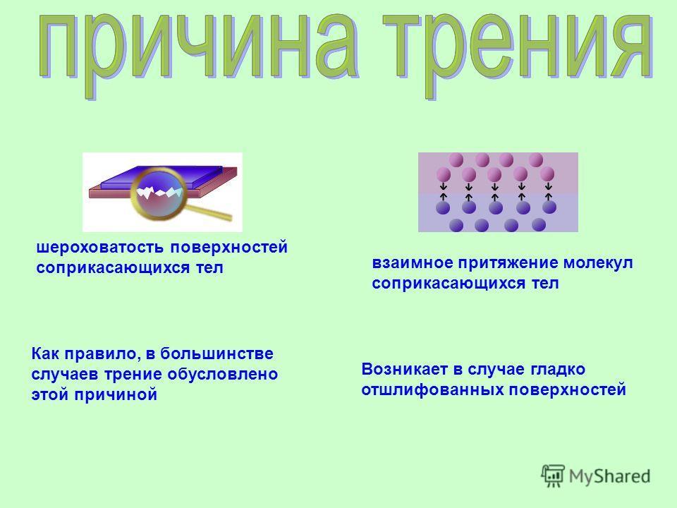 шероховатость поверхностей соприкасающихся тел Как правило, в большинстве случаев трение обусловлено этой причиной взаимное притяжение молекул соприкасающихся тел Возникает в случае гладко отшлифованных поверхностей