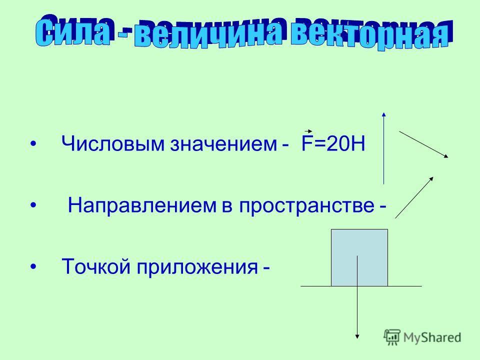 Числовым значением - F=20H Направлением в пространстве - Точкой приложения -
