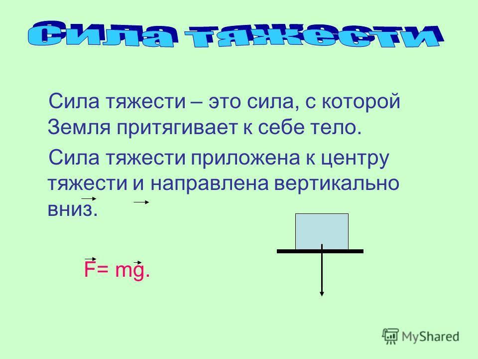 Сила тяжести – это сила, с которой Земля притягивает к себе тело. Сила тяжести приложена к центру тяжести и направлена вертикально вниз. F= mg.