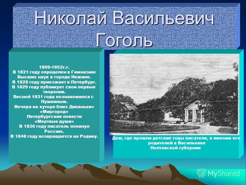 Николай Васильевич Гоголь 1809-1852г.г. В 1821 году определен в Гимназию Высших наук в городе Нежине. В 1828 году приезжает в Петербург. В 1829 году публикует свои первые творения. Весной 1831 года познакомился с Пушкиным. Вечера на хуторе близ Дикан