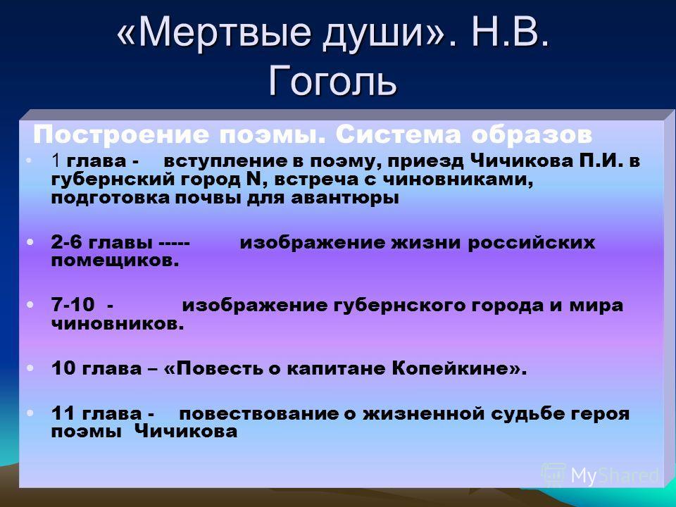 «Мертвые души». Н.В. Гоголь Построение поэмы. Система образов 1 глава - вступление в поэму, приезд Чичикова П.И. в губернский город N, встреча с чиновниками, подготовка почвы для авантюры 2-6 главы ----- изображение жизни российских помещиков. 7-10 -