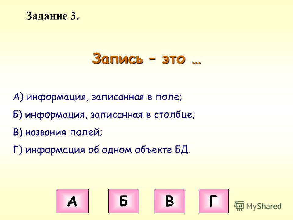 Задание 3. Запись – это … А Б В Г А) информация, записанная в поле; Б) информация, записанная в столбце; В) названия полей; Г) информация об одном объекте БД.