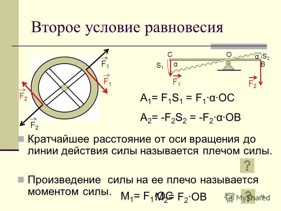 16 Второе условие равновесия Кратчайшее расстояние от оси вращения до линии действия силы называется плечом силы. Произведение силы на ее плечо называется моментом силы. F1F1 F2F2 F1F1 F2F2 α α S1S1 S2S2 ОС В F1F1 F2F2 A 1 = F 1 S 1 = F 1αOC A 2 = -F