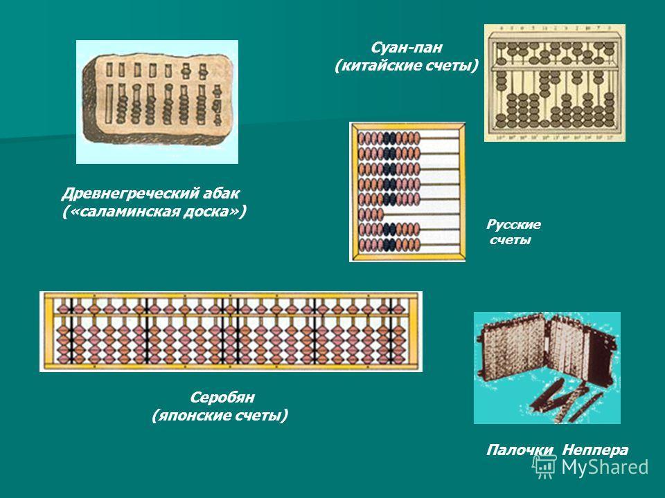 Древнегреческий абак («саламинская доска») Суан-пан (китайские счеты) Серобян (японские счеты) Русские счеты Палочки Неппера