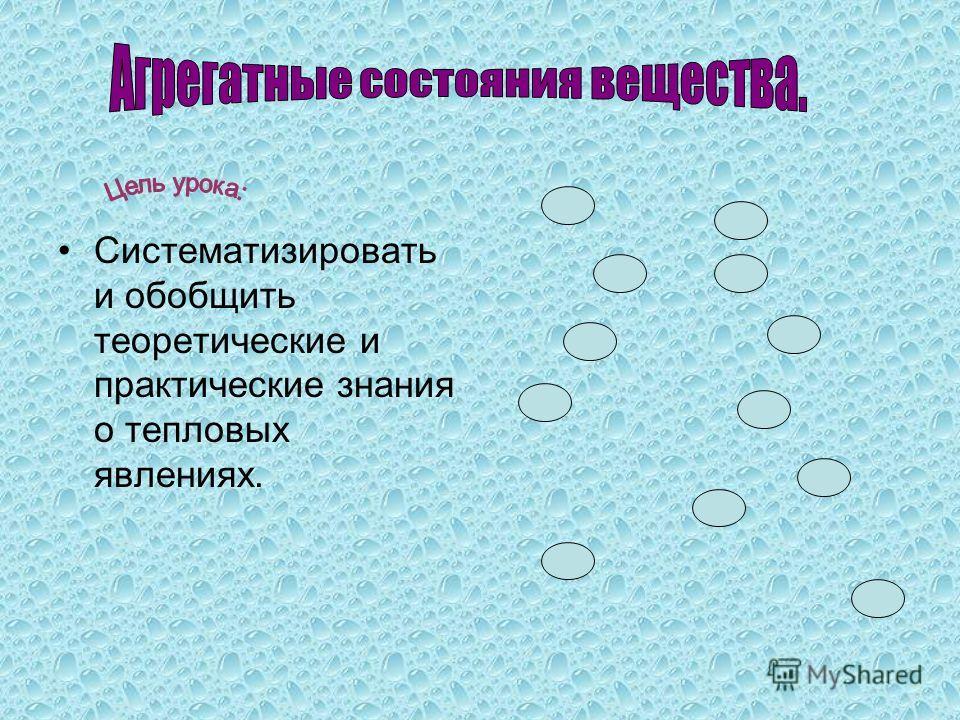 Систематизировать и обобщить теоретические и практические знания о тепловых явлениях.