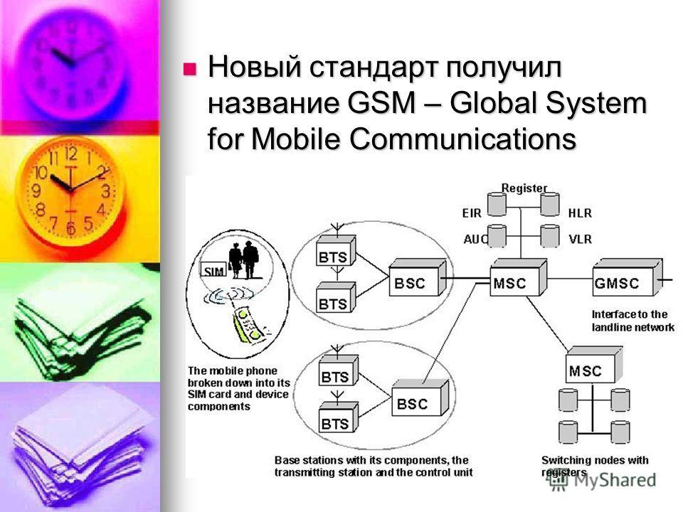 Новый стандарт получил название GSM – Global System for Mobile Communications Новый стандарт получил название GSM – Global System for Mobile Communications