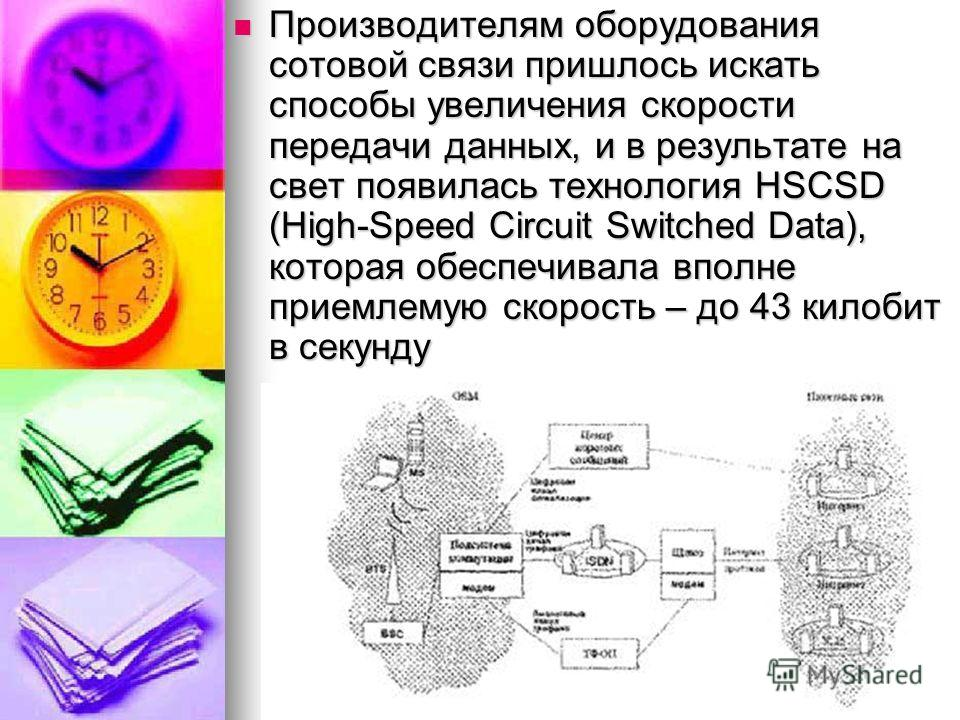 Производителям оборудования сотовой связи пришлось искать способы увеличения скорости передачи данных, и в результате на свет появилась технология HSCSD (High-Speed Circuit Switched Data), которая обеспечивала вполне приемлемую скорость – до 43 килоб
