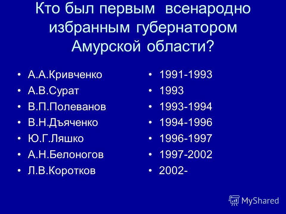 Кто был первым всенародно избранным губернатором Амурской области? А.А.Кривченко А.В.Сурат В.П.Полеванов В.Н.Дъяченко Ю.Г.Ляшко А.Н.Белоногов Л.В.Коротков 1991-1993 1993 1993-1994 1994-1996 1996-1997 1997-2002 2002-
