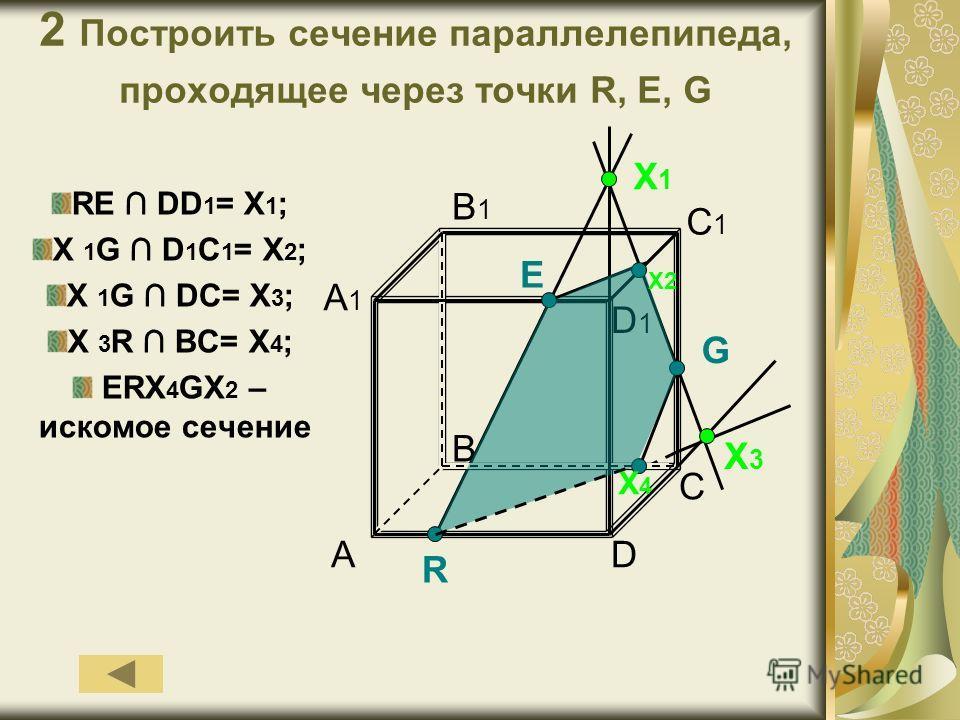 2 Построить сечение параллелепипеда, проходящее через точки R, E, G RE DD 1 = X 1 ; X 1 G D 1 C 1 = X 2 ; X 1 G DC= X 3 ; X 3 R BC= X 4 ; ERX 4 GX 2 – искомое сечение A D1D1 B D C C1C1 B1B1 A1A1 X1X1 R X3X3 X4X4 G E X2