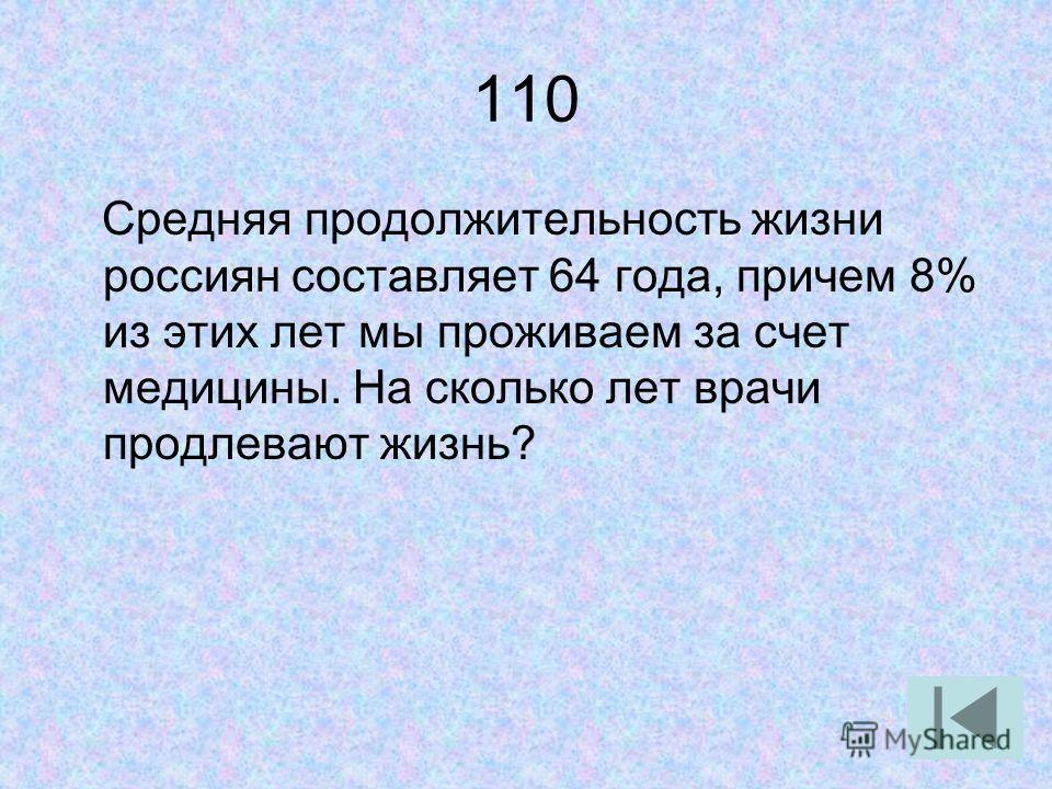 110 Средняя продолжительность жизни россиян составляет 64 года, причем 8% из этих лет мы проживаем за счет медицины. На сколько лет врачи продлевают жизнь?