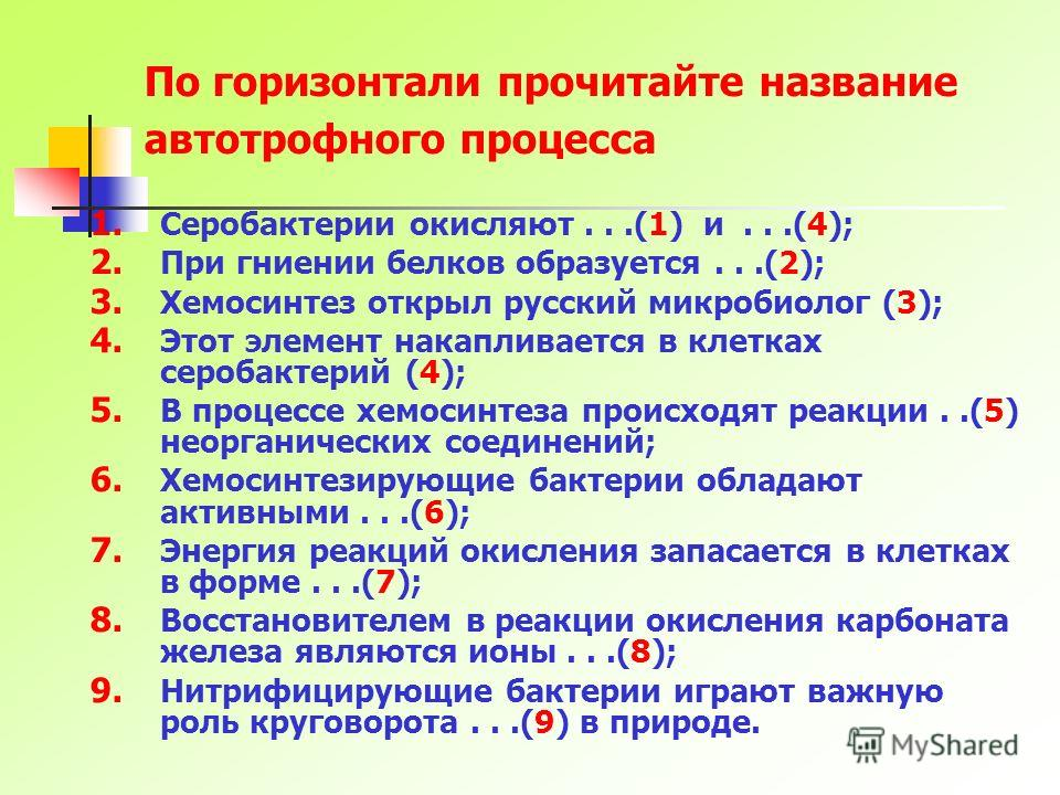 По горизонтали прочитайте название автотрофного процесса 1. Серобактерии окисляют...(1) и...(4); 2. При гниении белков образуется...(2); 3. Хемосинтез открыл русский микробиолог (3); 4. Этот элемент накапливается в клетках серобактерий (4); 5. В проц