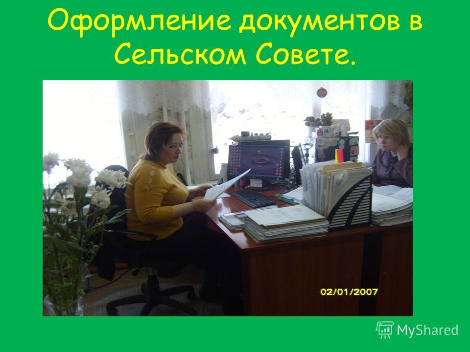 Оформление документов в Сельском Совете.