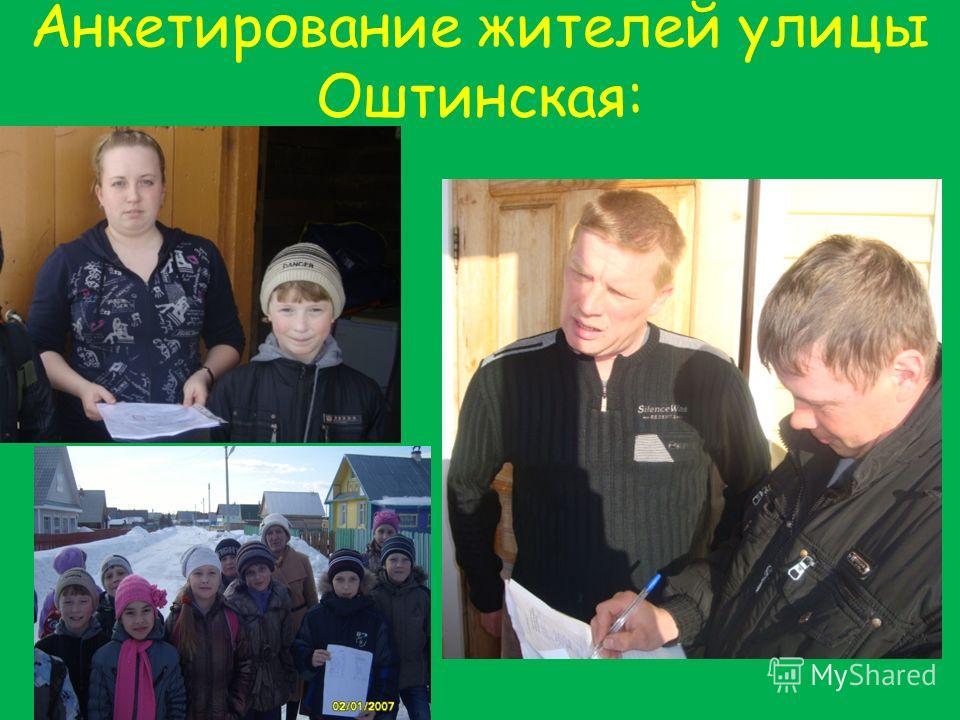 Анкетирование жителей улицы Оштинская: