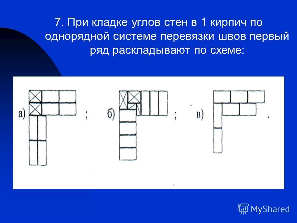 7. При кладке углов стен в 1 кирпич по однорядной системе перевязки швов первый ряд раскладывают по схеме: