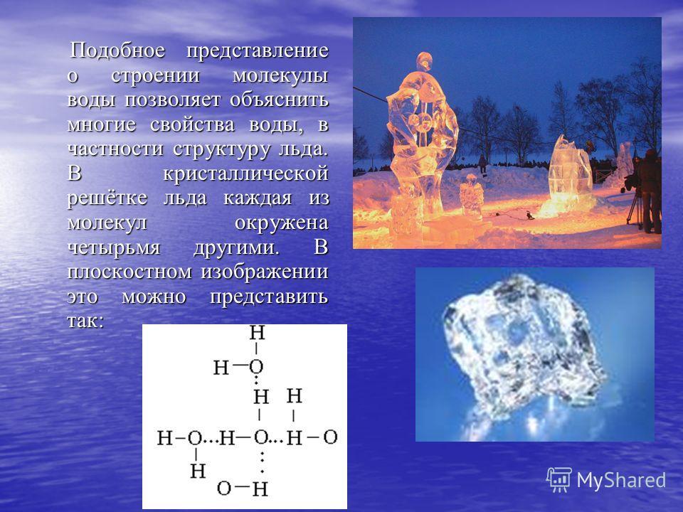 Подобное представление о строении молекулы воды позволяет объяснить многие свойства воды, в частности структуру льда. В кристаллической решётке льда каждая из молекул окружена четырьмя другими. В плоскостном изображении это можно представить так: Под