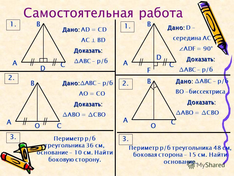 Самостоятельная работа 1. В D С А 2. В ОС А Дано: Дано: AD = CD AC BD Доказать: АВС – р/б Дано: Дано:АВС – р/б АО = СО Доказать: АВО = СВО 3. Периметр р/б треугольника 36 см, основание – 10 см. Найти боковую сторону. 3. Периметр р/б треугольника 48 с