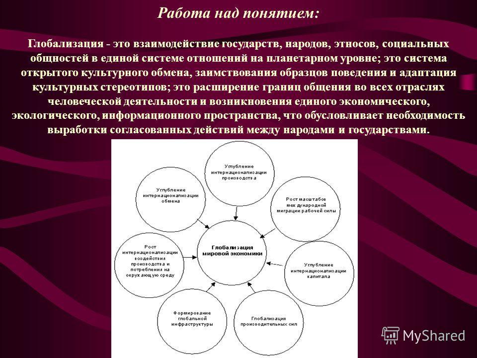 Работа над понятием: Глобализация - это взаимодействие государств, народов, этносов, социальных общностей в единой системе отношений на планетарном уровне; это система открытого культурного обмена, заимствования образцов поведения и адаптация культур