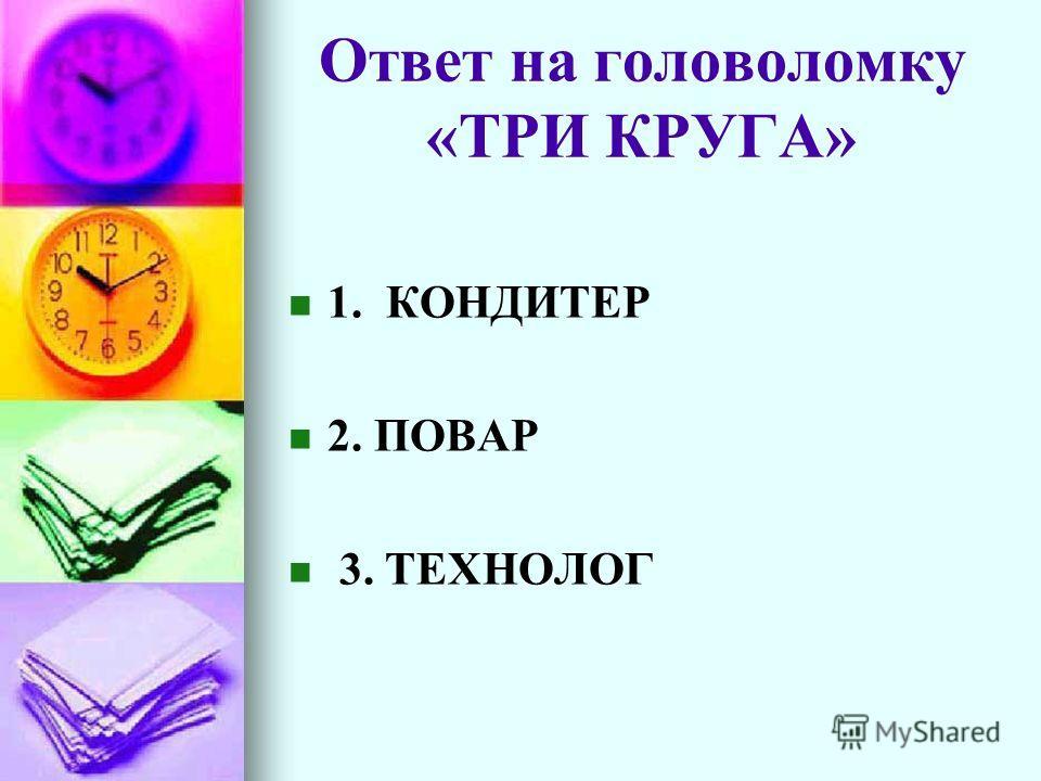 Ответ на головоломку «ТРИ КРУГА» 1. КОНДИТЕР 2. ПОВАР 3. ТЕХНОЛОГ