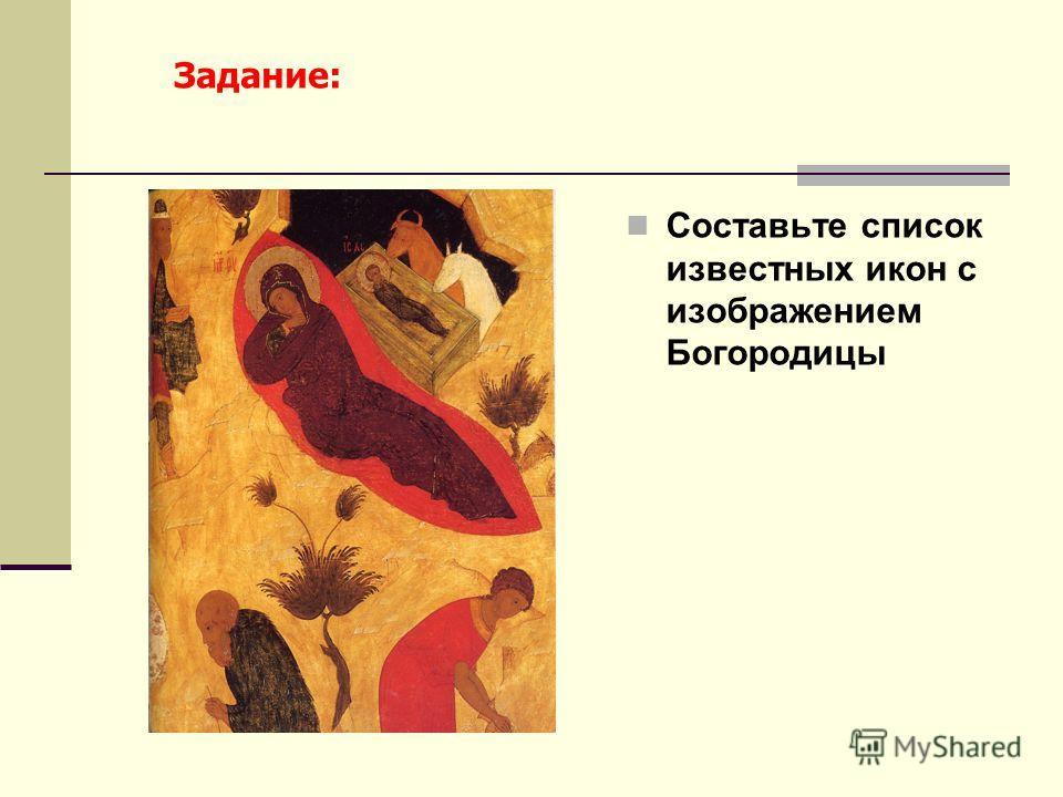 Составьте список известных икон с изображением Богородицы Задание: