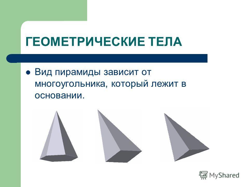 ГЕОМЕТРИЧЕСКИЕ ТЕЛА Вид пирамиды зависит от многоугольника, который лежит в основании.