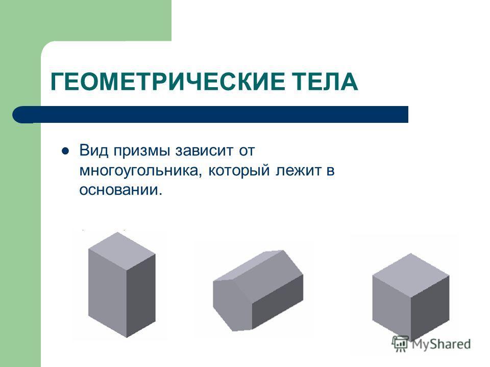ГЕОМЕТРИЧЕСКИЕ ТЕЛА Вид призмы зависит от многоугольника, который лежит в основании.