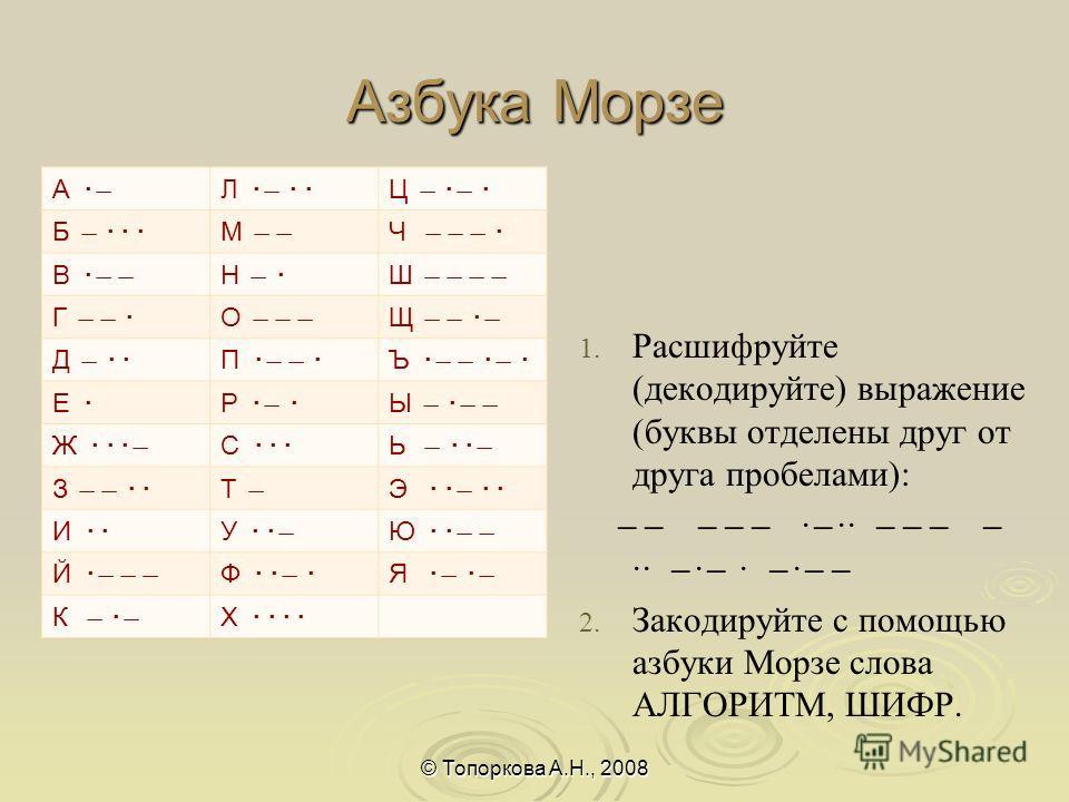 Азбука Морзе 1. 1. Расшифруйте (декодируйте) выражение (буквы отделены друг от друга пробелами): ̶ ̶ ̶ ̶ ̶ · ̶ ·· ̶ ̶ ̶ ̶ ·· ̶ · ̶ · ̶ · ̶ ̶ 2. 2. Закодируйте с помощью азбуки Морзе слова АЛГОРИТМ, ШИФР. © Топоркова А.Н., 2008 А · ̶ Л · ̶ · ·Ц ̶ · ̶