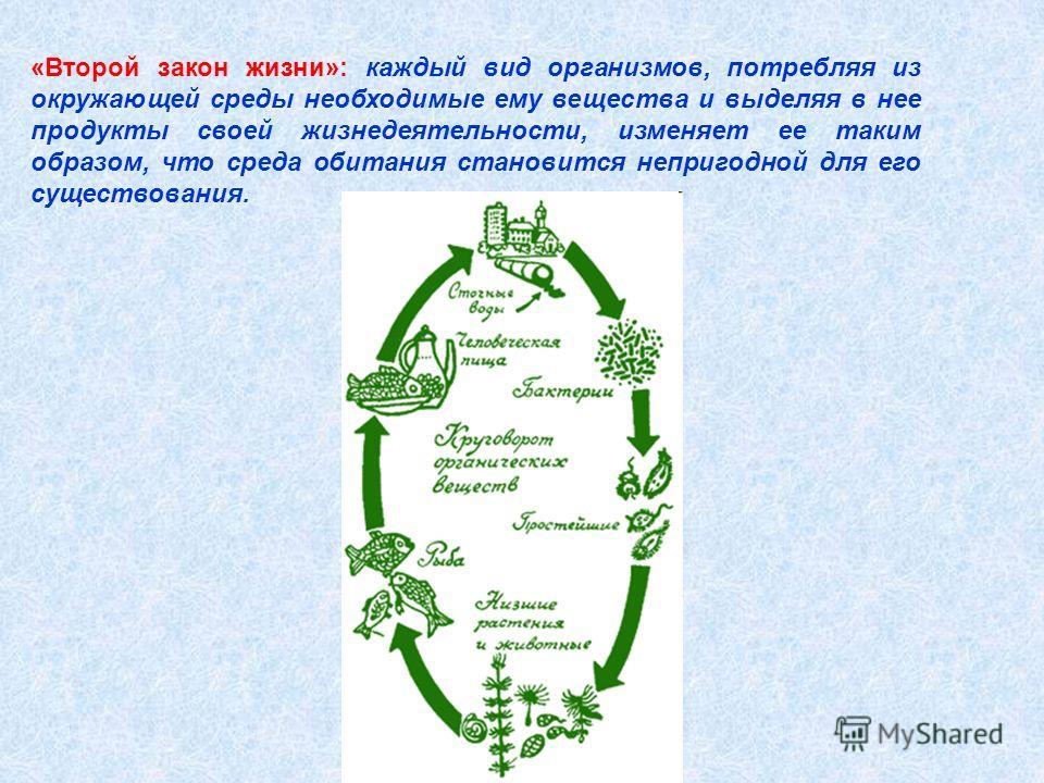 «Второй закон жизни»: каждый вид организмов, потребляя из окружающей среды необходимые ему вещества и выделяя в нее продукты своей жизнедеятельности, изменяет ее таким образом, что среда обитания становится непригодной для его существования.