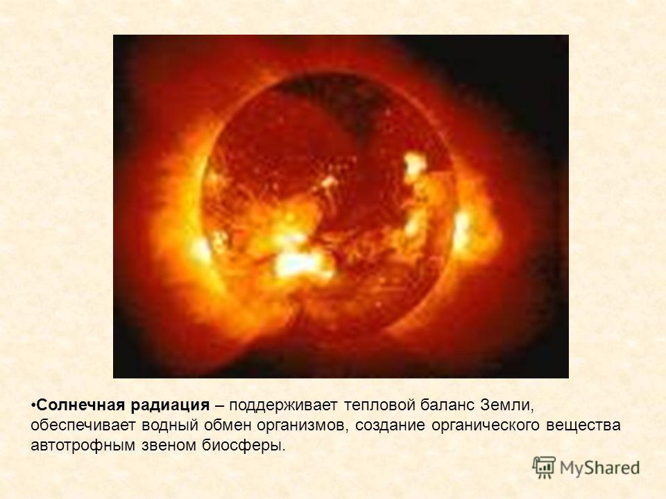 Солнечная радиация – поддерживает тепловой баланс Земли, обеспечивает водный обмен организмов, создание органического вещества автотрофным звеном биосферы.