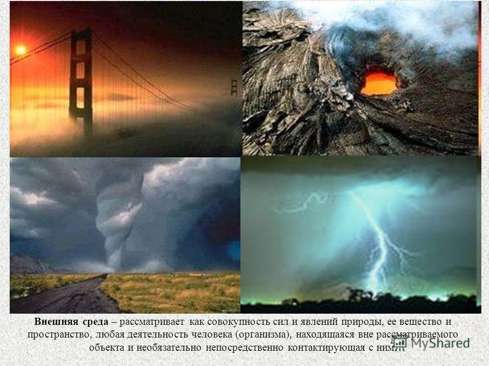 Внешняя среда – рассматривает как совокупность сил и явлений природы, ее вещество и пространство, любая деятельность человека (организма), находящаяся вне рассматриваемого объекта и необязательно непосредственно контактирующая с ним.