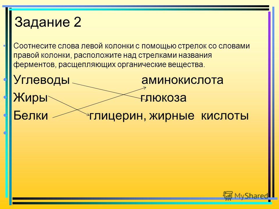 Задание 2 Соотнесите слова левой колонки с помощью стрелок со словами правой колонки, расположите над стрелками названия ферментов, расщепляющих органические вещества. Углеводы аминокислота Жиры глюкоза Белки глицерин, жирные кислоты
