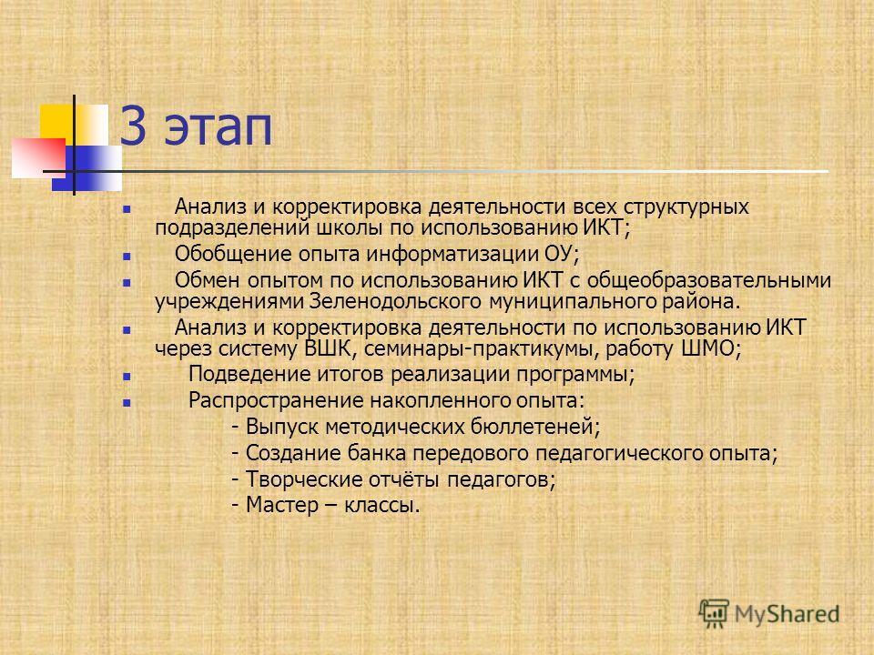 3 этап Анализ и корректировка деятельности всех структурных подразделений школы по использованию ИКТ; Обобщение опыта информатизации ОУ; Обмен опытом по использованию ИКТ с общеобразовательными учреждениями Зеленодольского муниципального района. Анал