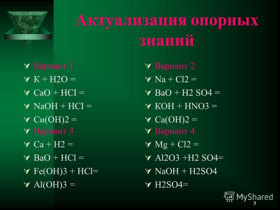 5 Актуализация опорных знаний Вариант 1 К + Н2О = СаО + НСI = NaOH + НСI = Си(ОН)2 = Вариант 2 Na + Cl2 = BaO + H2 SO4 = КОН + НNО3 = Са(ОН)2 = Вариант 3 Ca + H2 = BaO + HCl = Fe(OH)3 + HCl= Al(OH)3 = Вариант 4 Mg + Cl2 = Al2O3 +H2 SO4= NaOH + H2SO4