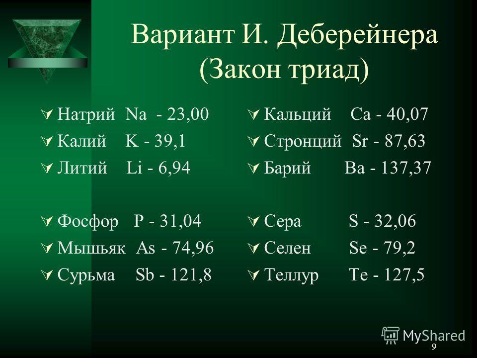 9 Вариант И. Деберейнера (Закон триад) Натрий Na - 23,00 Калий K - 39,1 Литий Li - 6,94 Фосфор P - 31,04 Мышьяк As - 74,96 Сурьма Sb - 121,8 Кальций Ca - 40,07 Стронций Sr - 87,63 Барий Ba - 137,37 Сера S - 32,06 Селен Se - 79,2 Теллур Te - 127,5