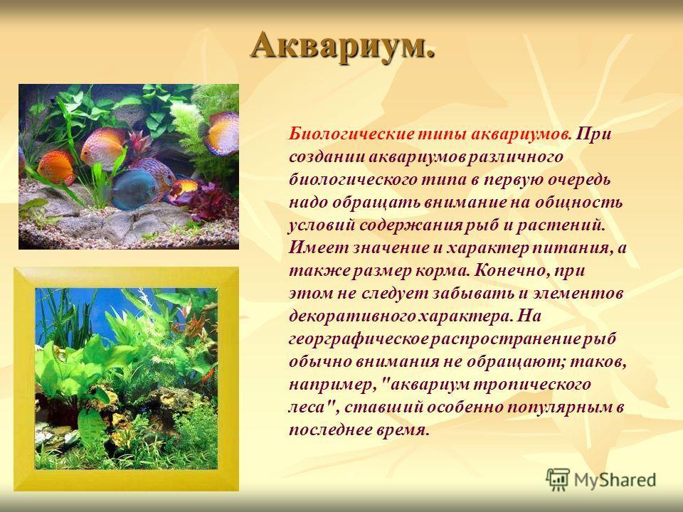 Аквариум. Биологические типы аквариумов. При создании аквариумов различного биологического типа в первую очередь надо обращать внимание на общность условий содержания рыб и растений. Имеет значение и характер питания, а также размер корма. Конечно, п