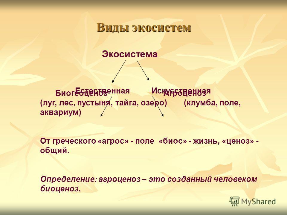Виды экосистем Экосистема Естественная Искусственная Биогеоценоз Агроценоз (луг, лес, пустыня, тайга, озеро) (клумба, поле, аквариум) От греческого «агрос» - поле «биос» - жизнь, «ценоз» - общий. Определение: агроценоз – это созданный человеком биоце