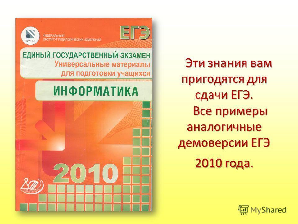 Эти знания вам пригодятся для сдачи ЕГЭ. Все примеры аналогичные демоверсии ЕГЭ 2010 года.