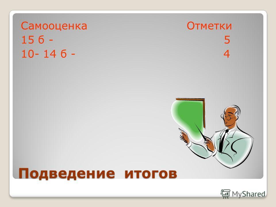 Подведение итогов Самооценка Отметки 15 б - 5 10- 14 б - 4