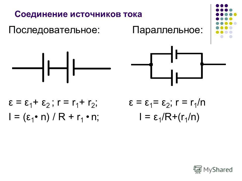 Соединение источников тока Последовательное: Параллельное: ε = ε 1 + ε 2 ; r = r 1 + r 2 ; ε = ε 1 = ε 2 ; r = r 1 /n I = (ε 1 n) / R + r 1 n; I = ε 1 /R+(r 1 /n)
