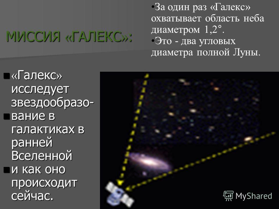 МИССИЯ « ГАЛЕКС » : МИССИЯ « ГАЛЕКС » : « Галекс » исследует звездообразо- « Галекс » исследует звездообразо- вание в галактиках в ранней Вселенной вание в галактиках в ранней Вселенной и как оно происходит сейчас. и как оно происходит сейчас. За оди