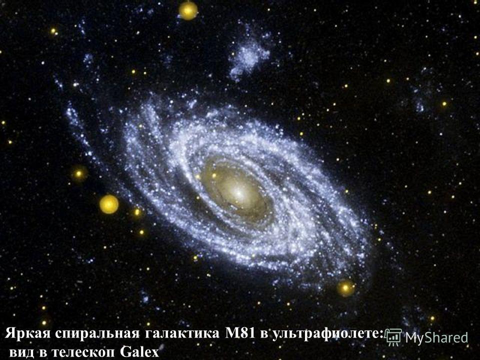 Яркая спиральная галактика M81 в ультрафиолете: вид в телескоп Galex